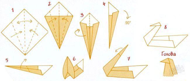 Як зробити лебедя з паперу